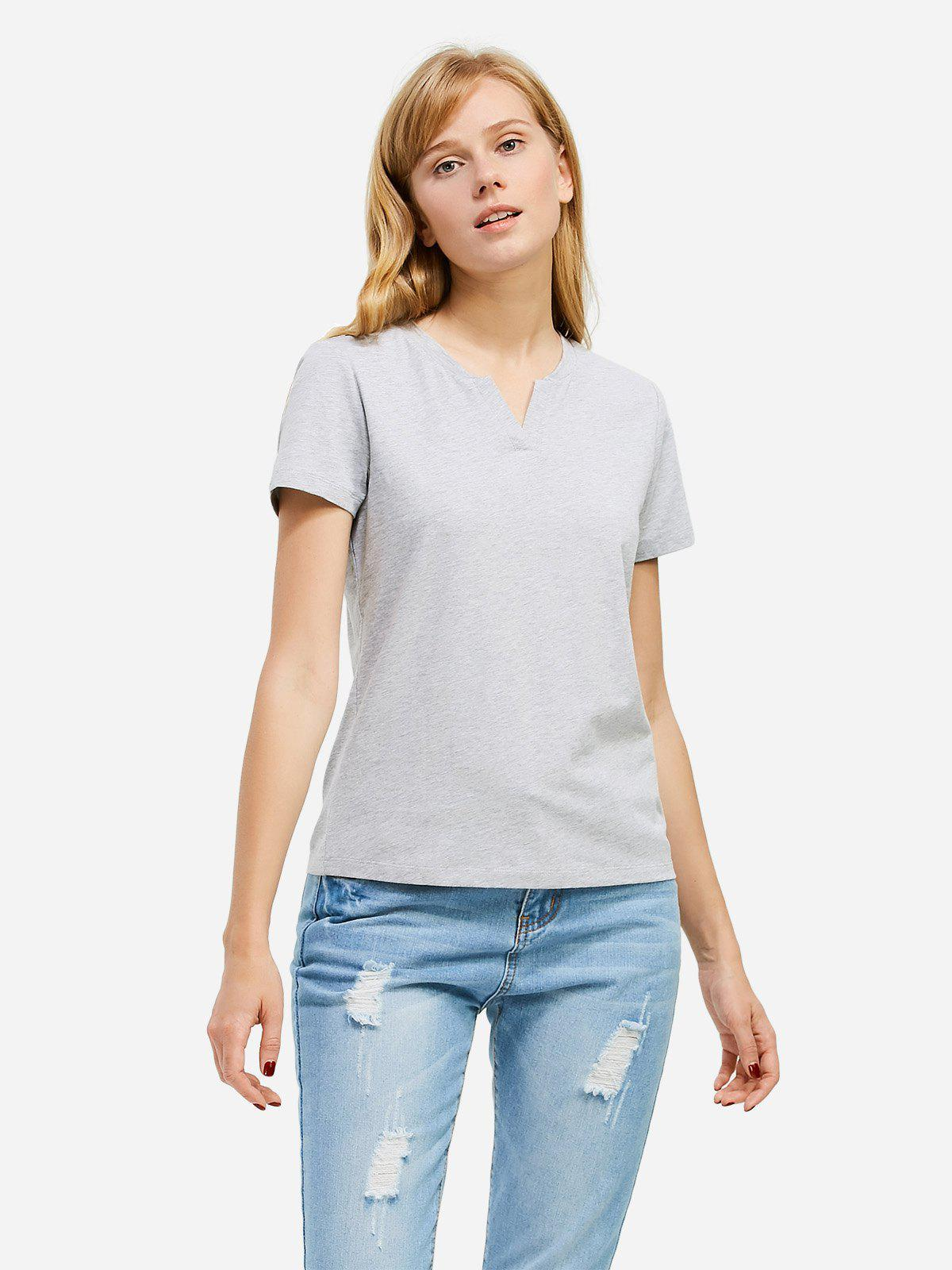 Shops ZAN.STYLE Split Neck T-shirt