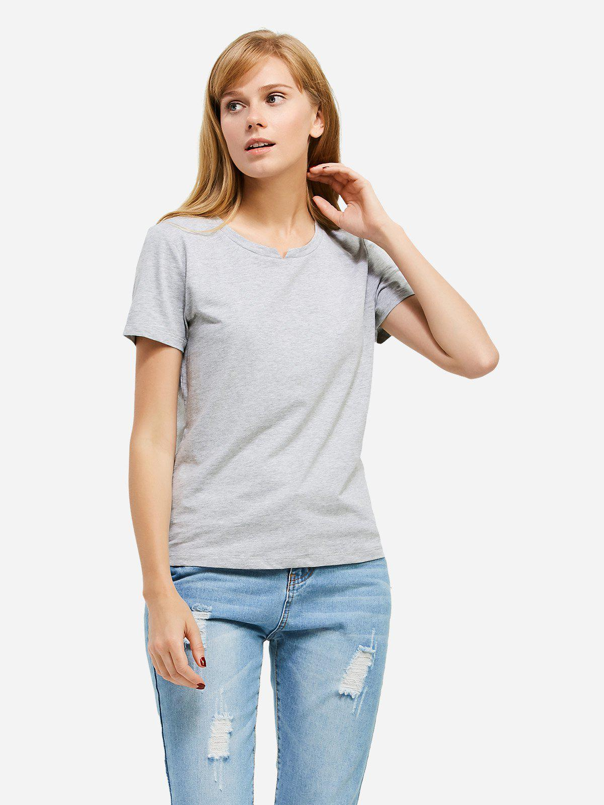Affordable ZAN.STYLE Slit Crew Neck T Shirt
