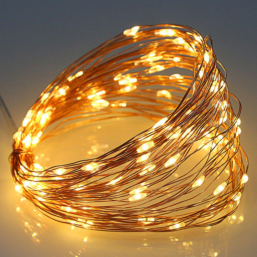 5V 6W 10m Copper Wire 100 LEDs USB Decoration String LightsHOME<br><br>Color: WARM WHITE LIGHT; Holder: Wired; Output Power: 6W; Voltage (V): 5V; Features: Easy to use; Function: Home Lighting; Available Light Color: Warm White; Body Color: Golden; Sheathing Material: Copper;