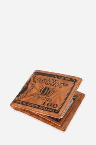 Best Retro PU Leather Men Wallet with US Dollar Pattern Card Holder - LIGHT COFFEE  Mobile