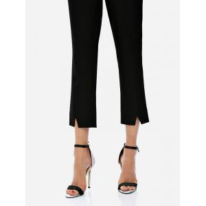 Ankle Length Cropped Pants - BLACK S