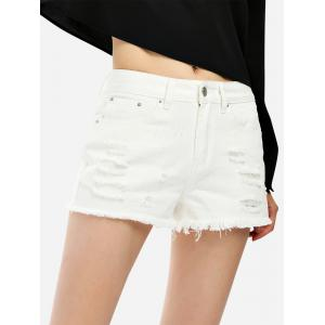 Ripped Cotton Shorts -