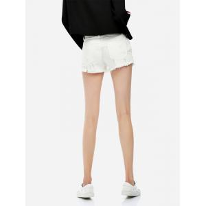 Ripped Cotton Shorts - WHITE S