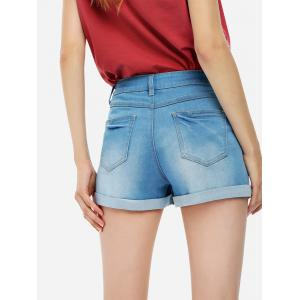 Faded Denim Shorts - BLUE L