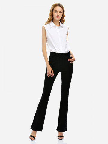 Affordable Stretch Knit High Waist Flared Pants BLACK M