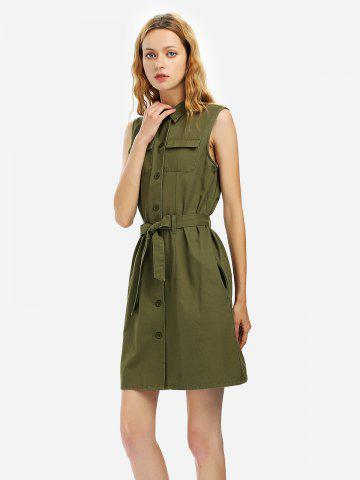 Robe Chemise sans Manches pour Femme - ARMY GREEN - M