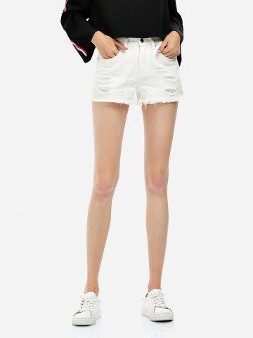 Discount Ripped Cotton Shorts WHITE XL