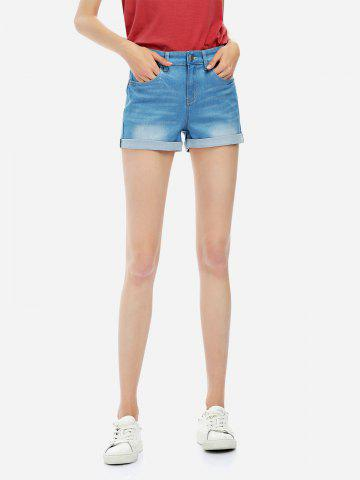 Affordable Faded Denim Shorts - XL BLUE Mobile