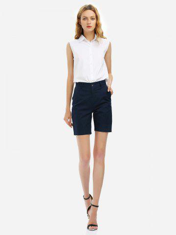 Chic Cuffed Shorts - M PURPLISH BLUE Mobile