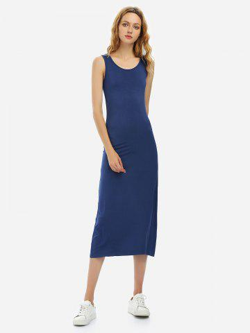 ZAN.STYLE Crew Neck Sleeveless Dress - NAVY BLUE - M