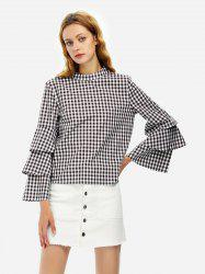 ZAN.STYLE Bell Sleeve Plaid Blouse Shirt -