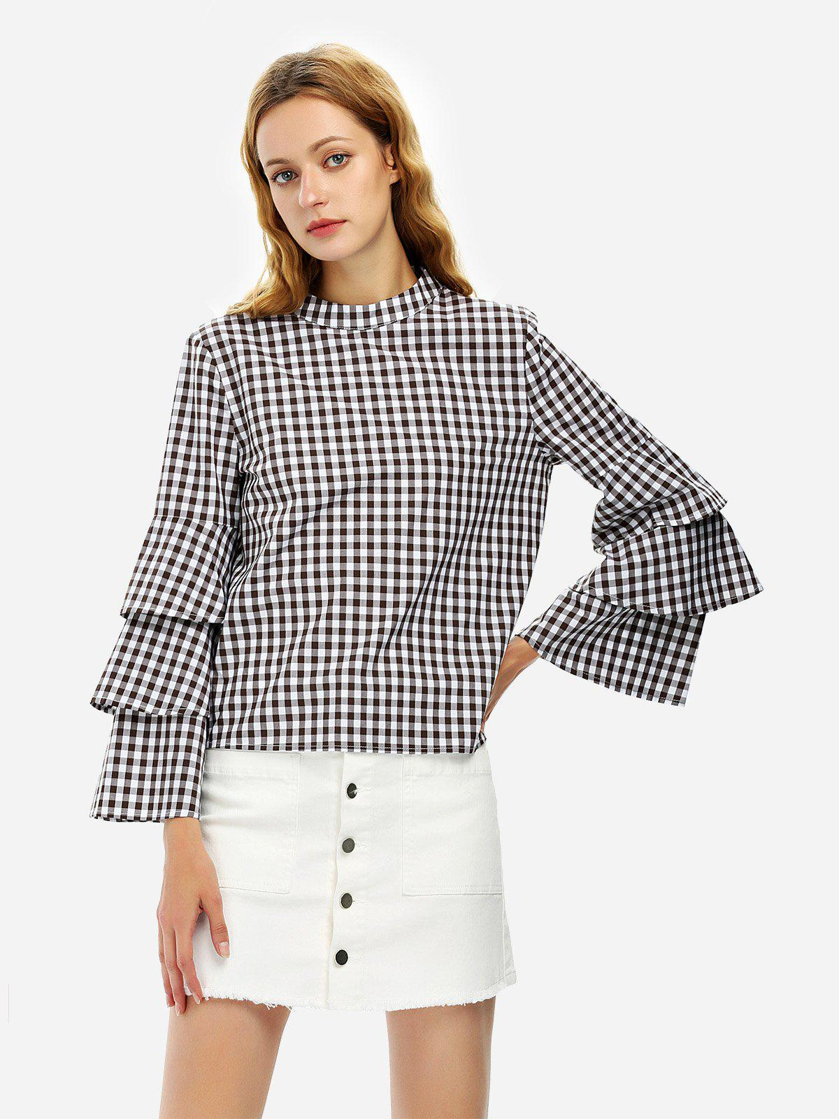 Shop ZAN.STYLE Bell Sleeve Plaid Blouse Shirt
