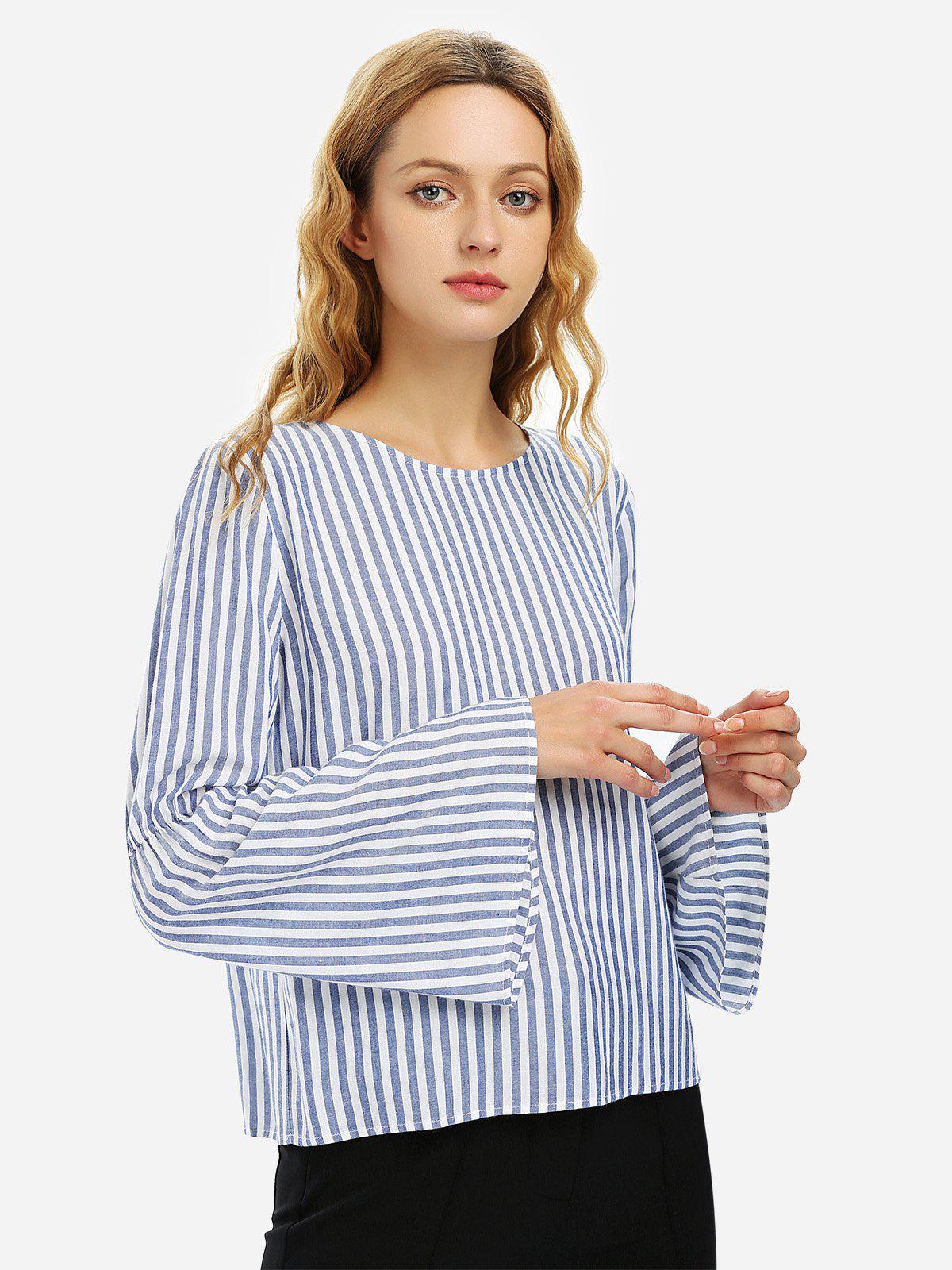 Sale ZAN.STYLE Long Bell Sleeve Striped Blouse Shirt