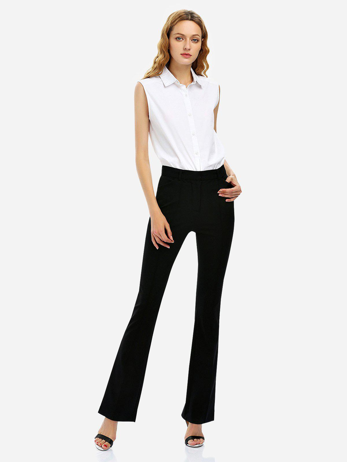 Discount ZAN.STYLE Stretch Knit High Waist Flared Pants