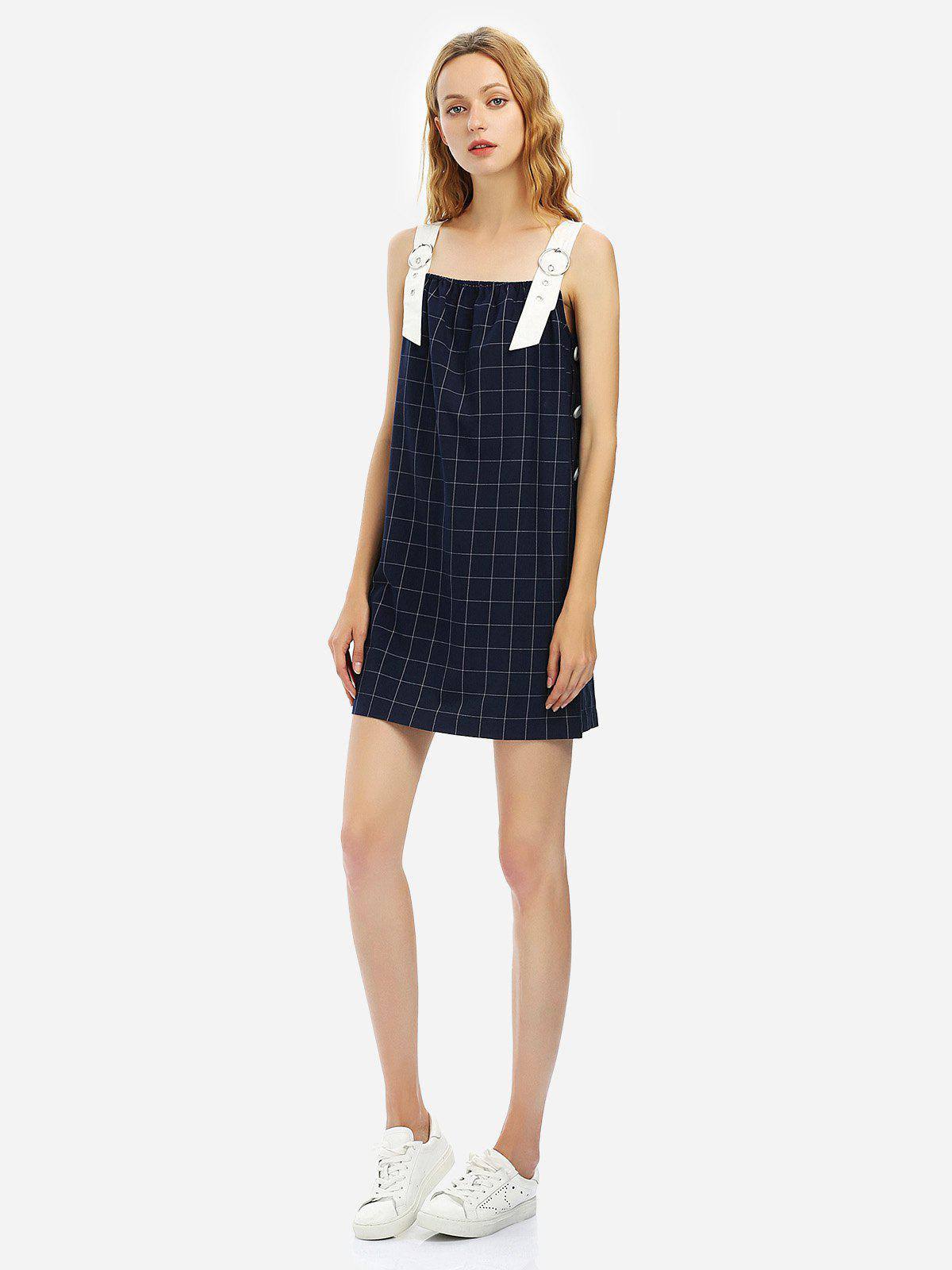Fashion Sleeveless Plaid Pattern Dress