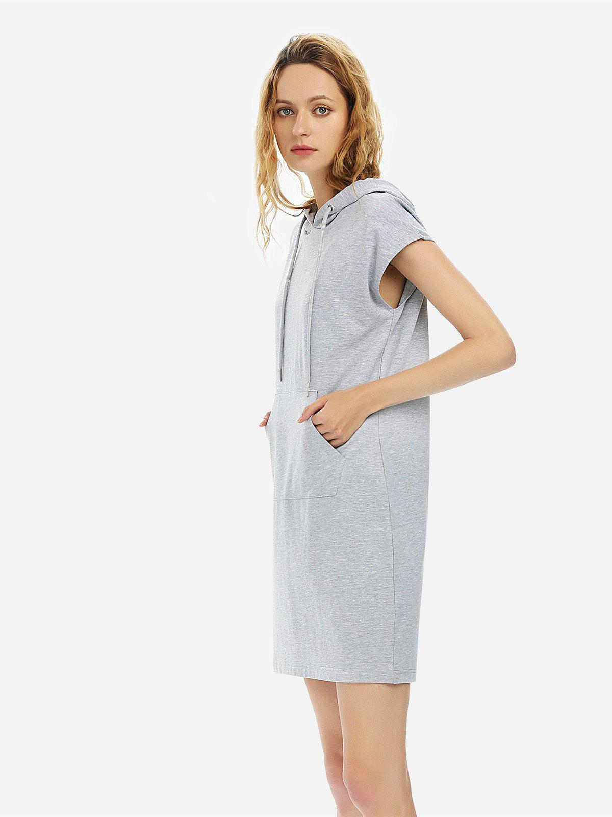 Cheap ZAN.STYLE Sleeveless Drawstring Dress Hoodie
