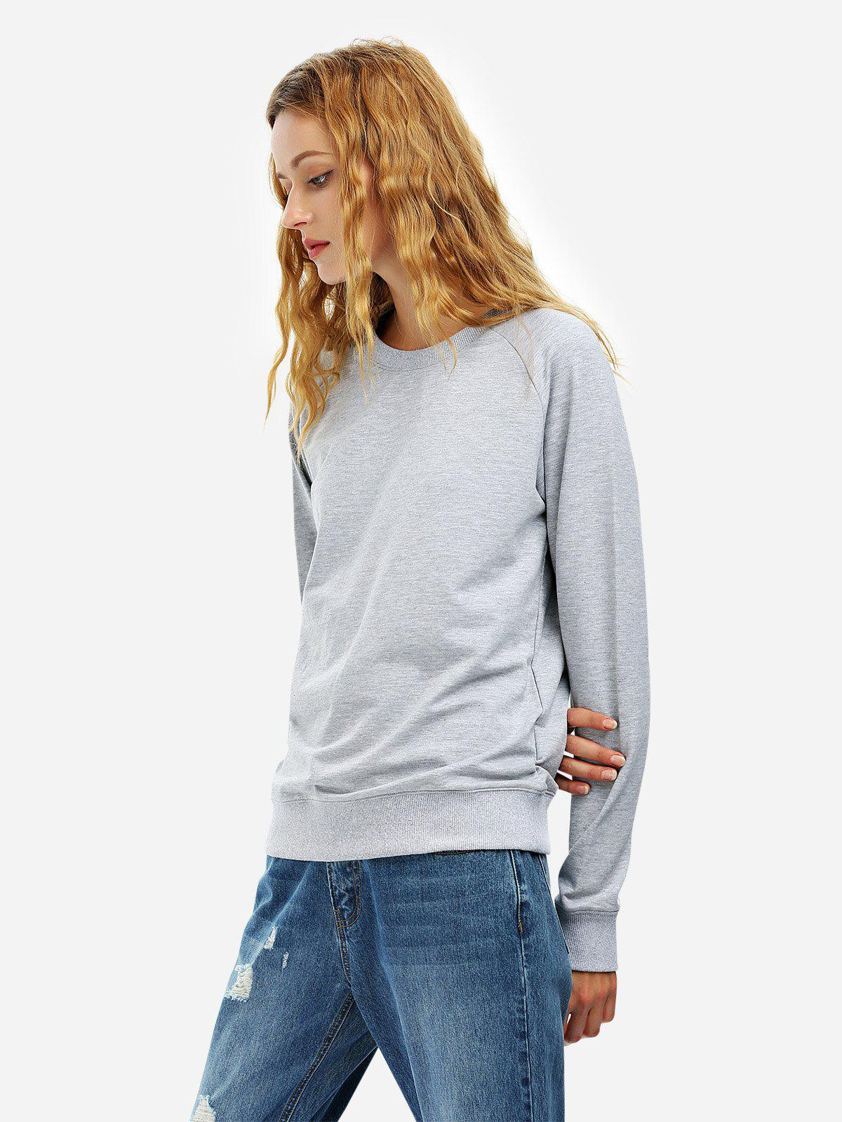 Sweat-Shirt Ample à Manches Longues Gris L
