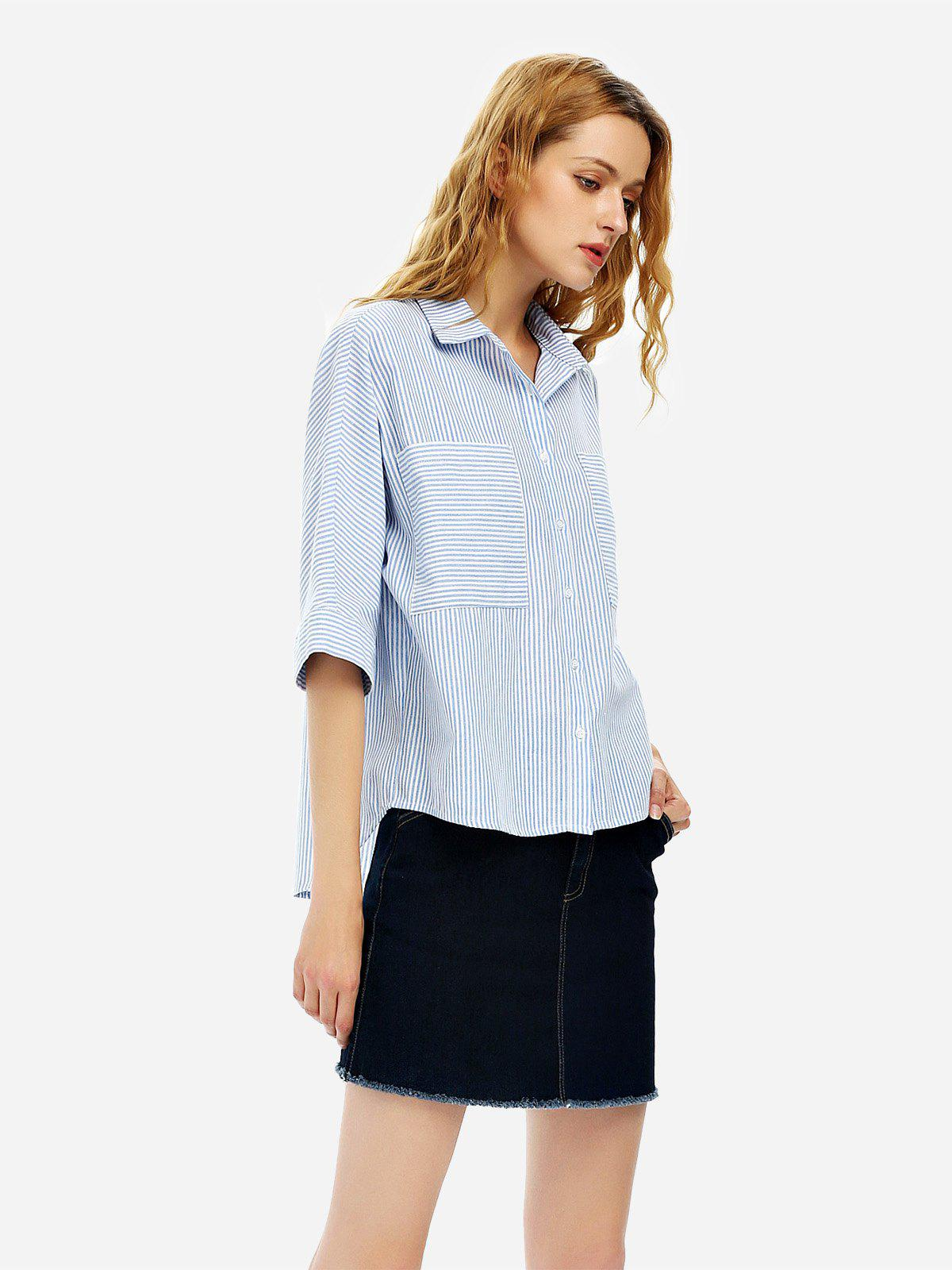 Discount 3/4 Sleeve Collar Blouse
