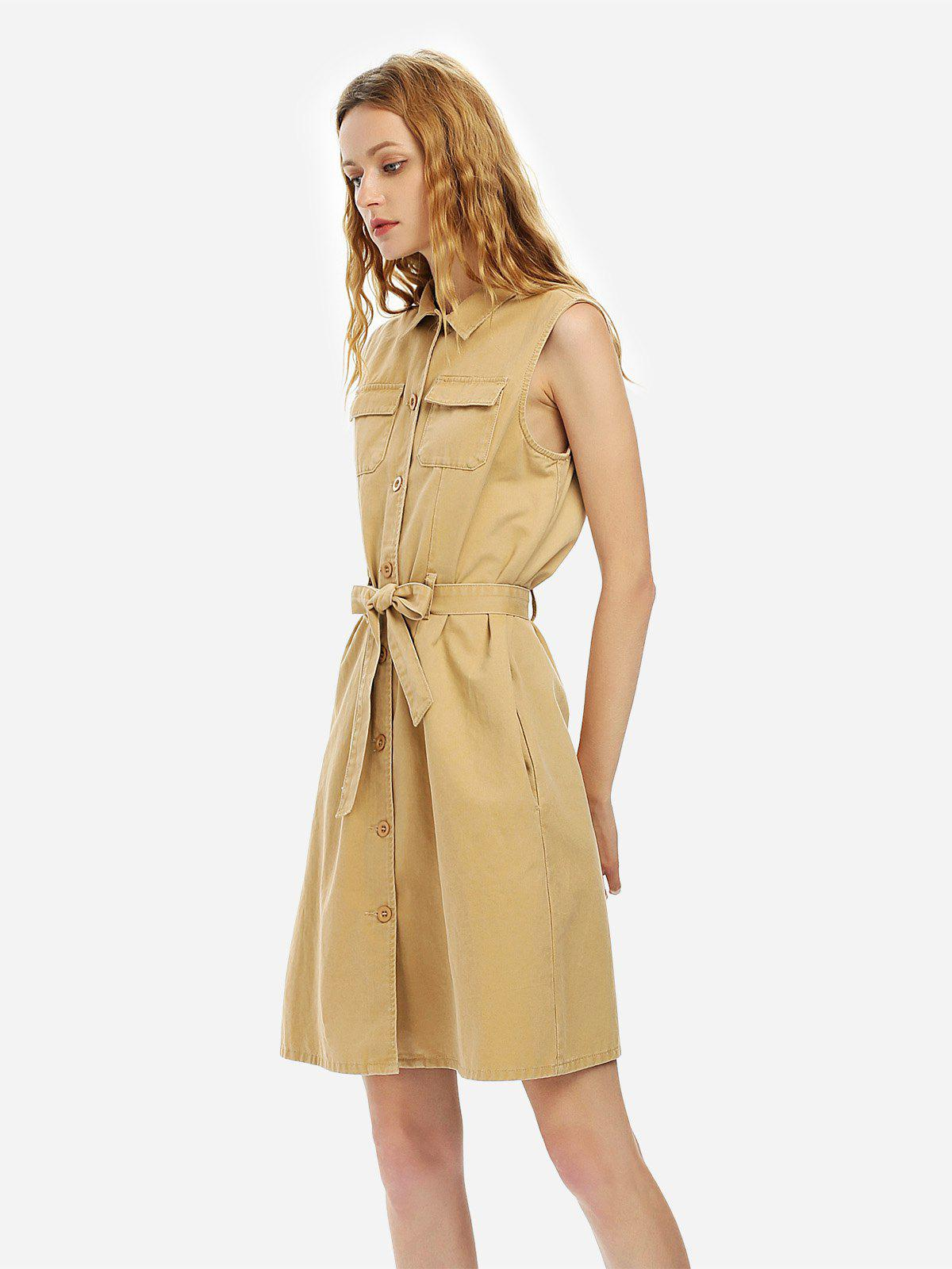 Shops ZAN.STYLE Belted Waist Sleeveless Shirt Dress