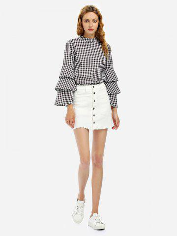 Chic Button A Line Mini Skirt WHITE S