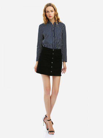 Button A Line Mini Skirt