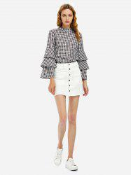 Button A Line Mini Skirt - WHITE S