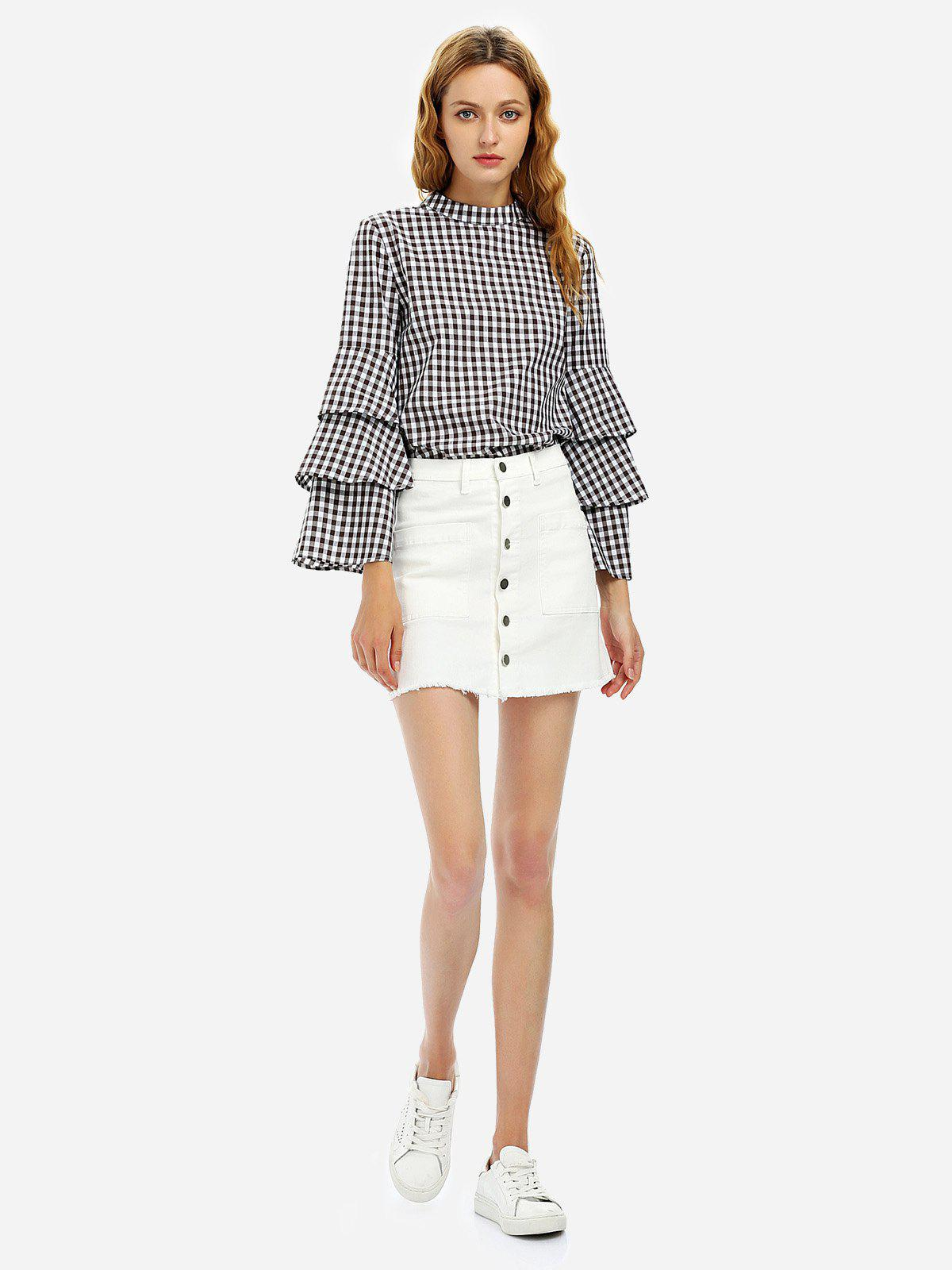 Outfits Button A Line Mini Skirt