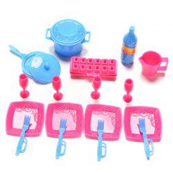 18pcs Mini Simulation Tableware Kitchen Pots Pans Dishes Cutlery for Baby -