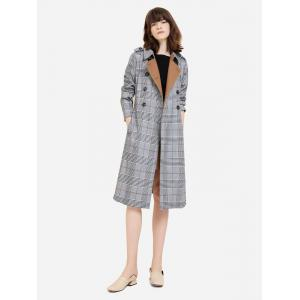 Double Breasted Belted Plaid Trench Coat - COFFEE AND GREY S