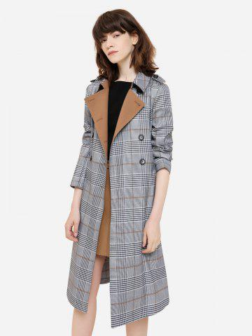 Store Double Breasted Belted Plaid Trench Coat - S COFFEE AND GREY Mobile