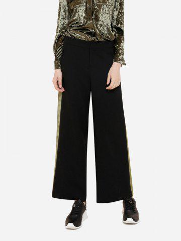 Wide Leg Green Side Stripe Palazzo Pants