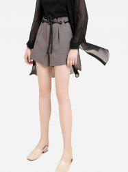 Plaid Belted Shorts - COFFEE M