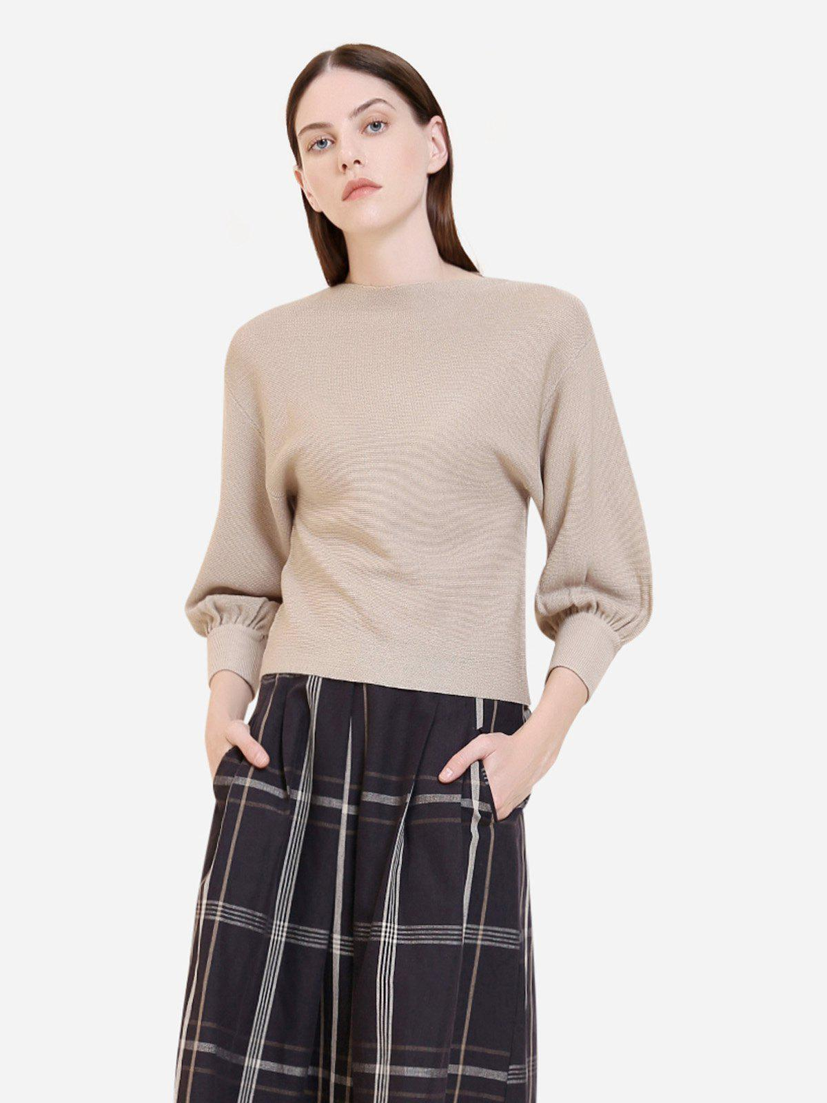 Store ZAN.STYLE Cropped Ribbed Knit Sweater