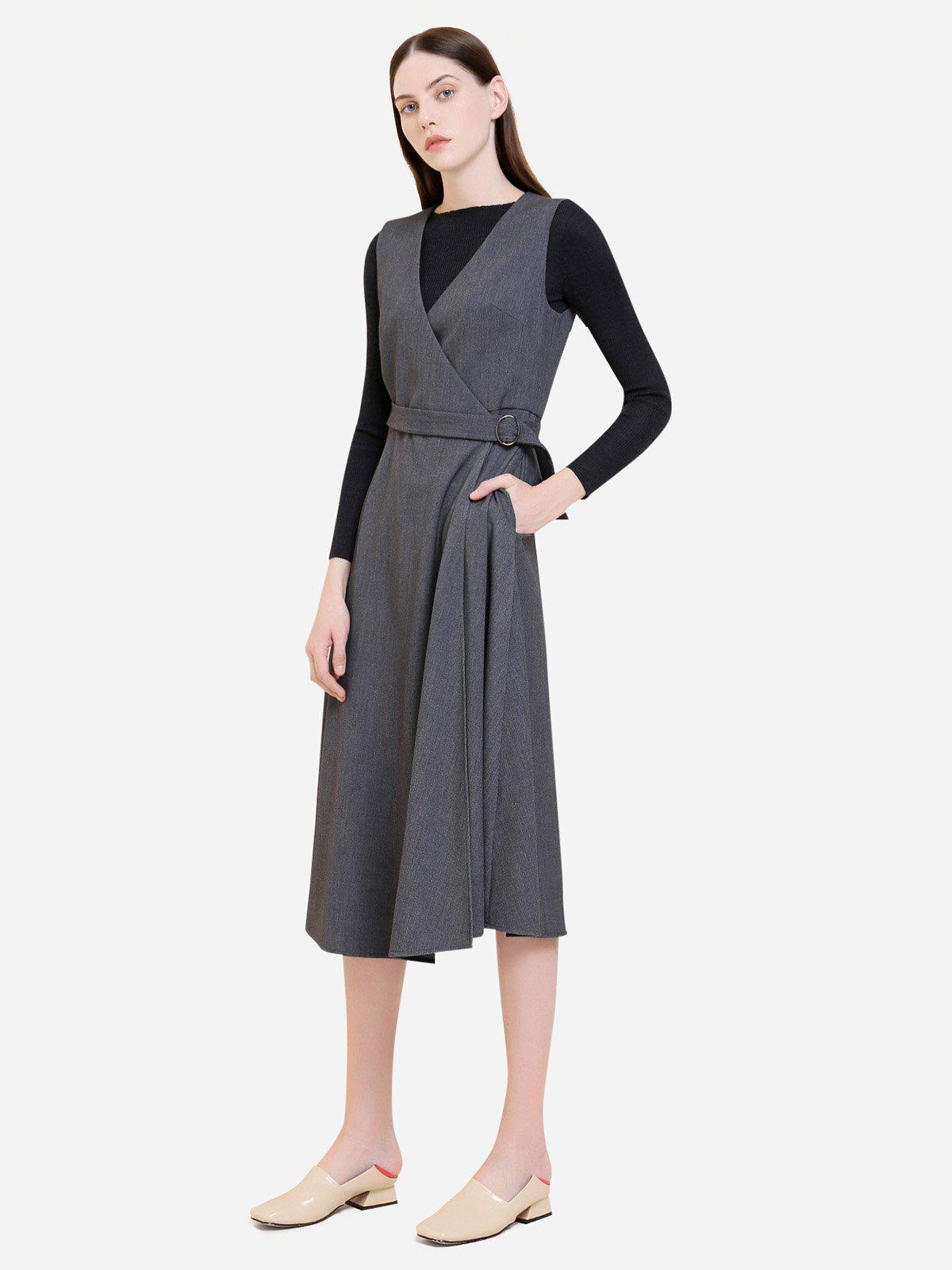 Fancy ZAN.STYLE Sleeveless Belted Dress Coat