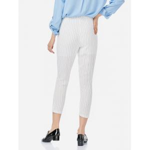 Ankle Length Pleated Pants - WHITE XL