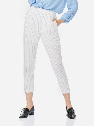 ZAN.STYLE Ankle Length Pleated Pants - WHITE - S