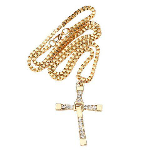 Hot Alloy Rhinestone Cross Unisex Pendant Necklace Ornaments - LUXURY GOLD COLOR  Mobile