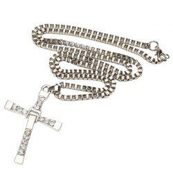 Alloy Rhinestone Cross Unisex Pendant Necklace Ornaments - SILVER