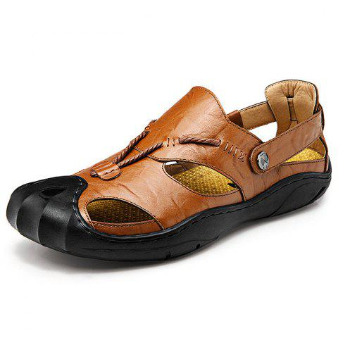 Men Wearable Genuine Leather Rubber Soles Sandals - BROWN - 43