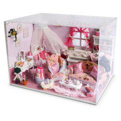 Miniature Wooden Princess Bedroom DIY Kit Doll House with Dreamy Bed Dressing Table Piano -