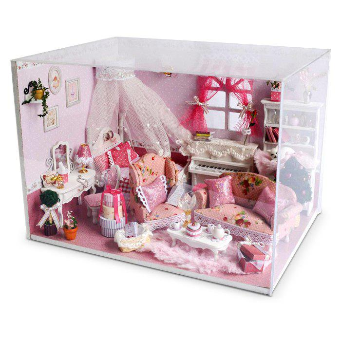 Miniature Wooden Princess Bedroom DIY Kit Maison de poupée avec un lit de rêve Dressing Table Piano