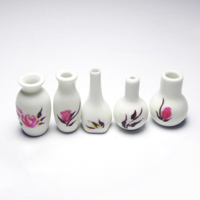 Outfits 5pcs / set Miniature Plastic Vase for 1:12 Scale Doll House