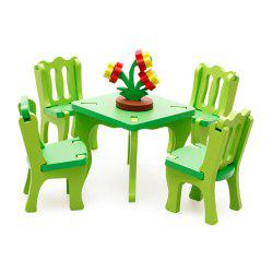 3D Wooden Table Chair Set Kitchen Pretend Play Toy for Kids -