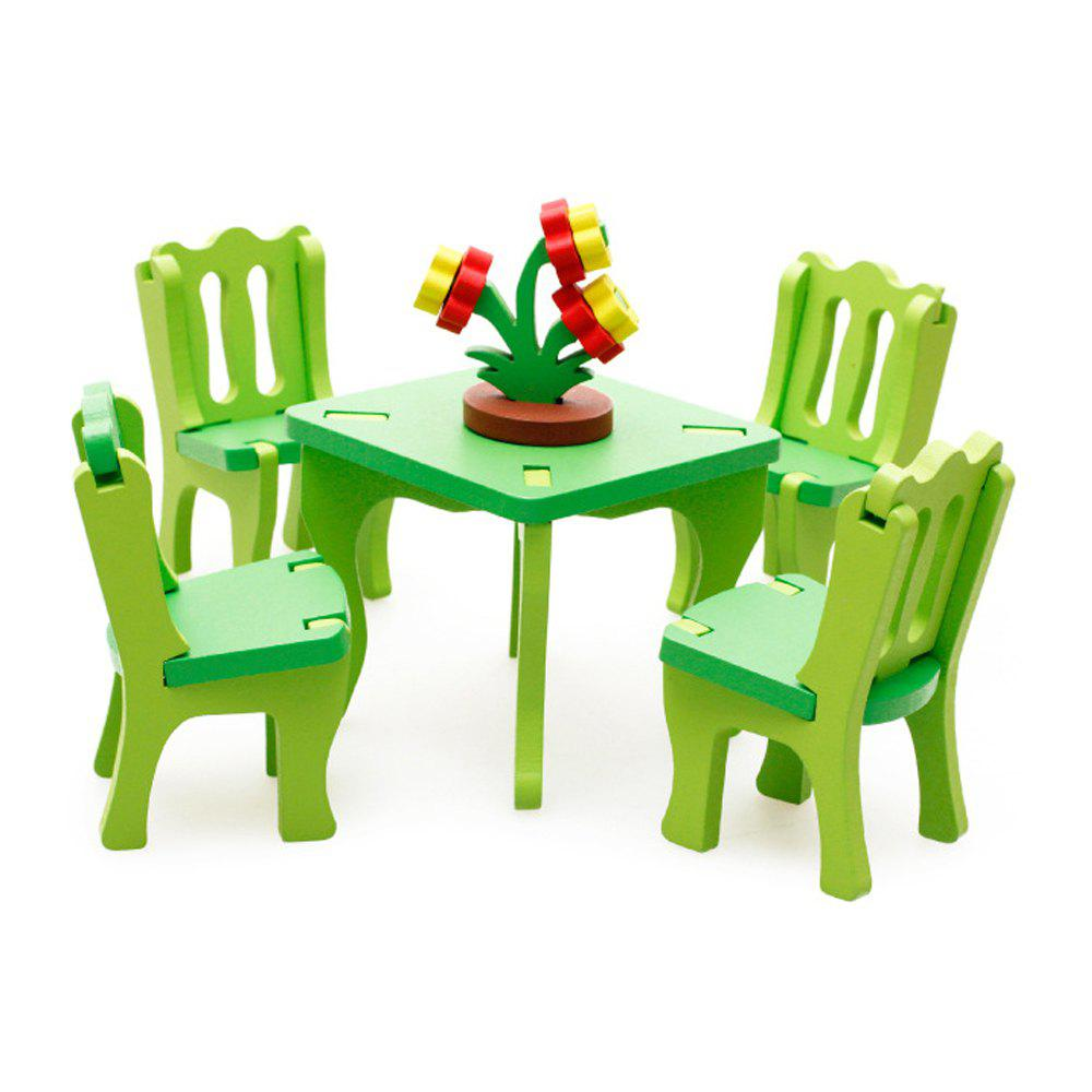 Sale 3D Wooden Table Chair Set Kitchen Pretend Play Toy for Kids