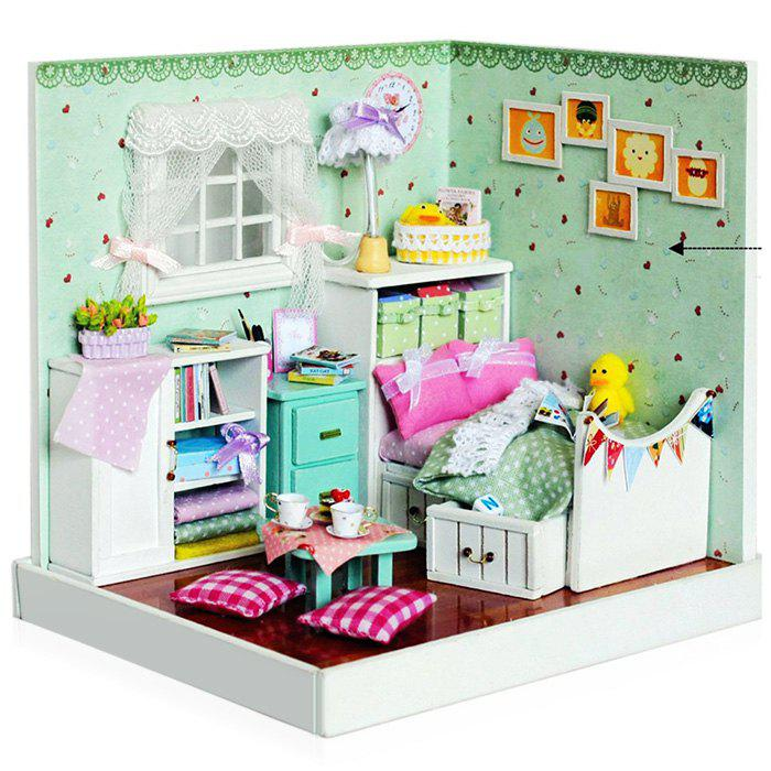 Fashion Cute Wooden Bedroom DIY Kit Miniature Doll House with Photo Wall Closet Flower