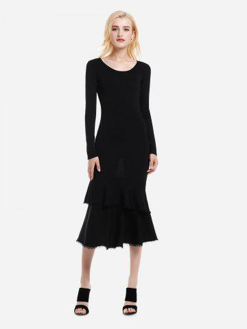 ZAN.STYLE Long Sleeve Slim Fit Sweater Dress - BLACK - M