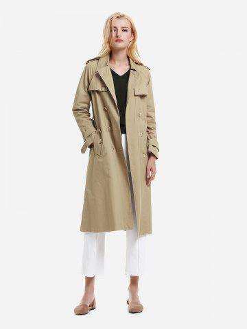ZAN.STYLE Longline Silhouette Double Breasted Belted Trench Coat