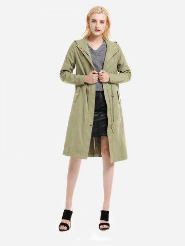 ZAN.STYLE Longline Silhouette Belted Hooded Trench Coat - LIGHT GREEN - XL