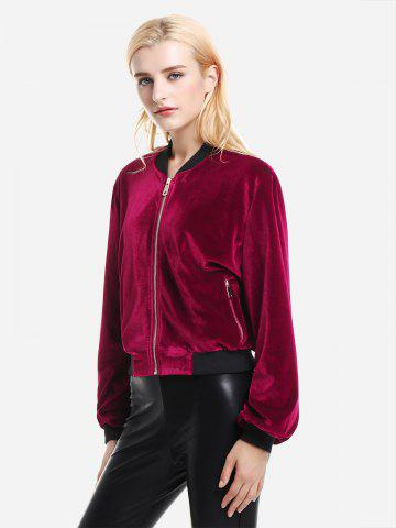 Veste à Ourelt Côtelé en Velours - WINE RED - XL