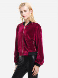 Ribbed Trim Velvet Jacket -